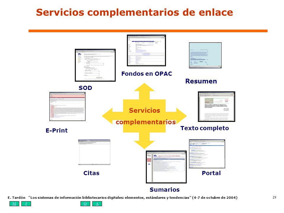 MIOA E. Tardón Los sistemas de información bibliotecarios digitales: elementos, estándares y tendencias (4-7 de octubre de 2004) 29 E-Print Resumen Te