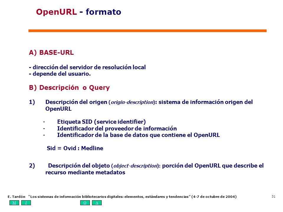 MIOA E. Tardón Los sistemas de información bibliotecarios digitales: elementos, estándares y tendencias (4-7 de octubre de 2004) 31 A) BASE-URL - dire