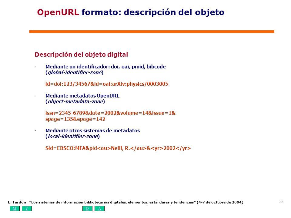 MIOA E. Tardón Los sistemas de información bibliotecarios digitales: elementos, estándares y tendencias (4-7 de octubre de 2004) 32 Descripción del ob