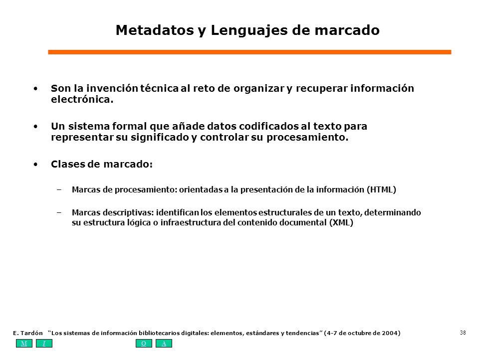 MIOA E. Tardón Los sistemas de información bibliotecarios digitales: elementos, estándares y tendencias (4-7 de octubre de 2004) 38 Metadatos y Lengua