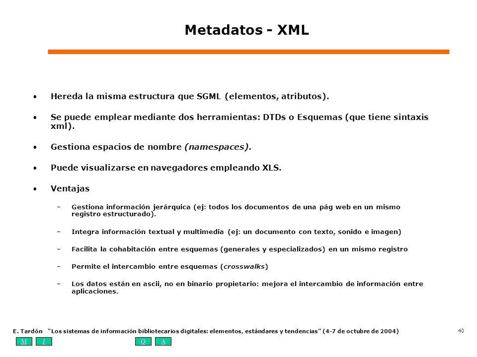 MIOA E. Tardón Los sistemas de información bibliotecarios digitales: elementos, estándares y tendencias (4-7 de octubre de 2004) 40 Metadatos - XML He