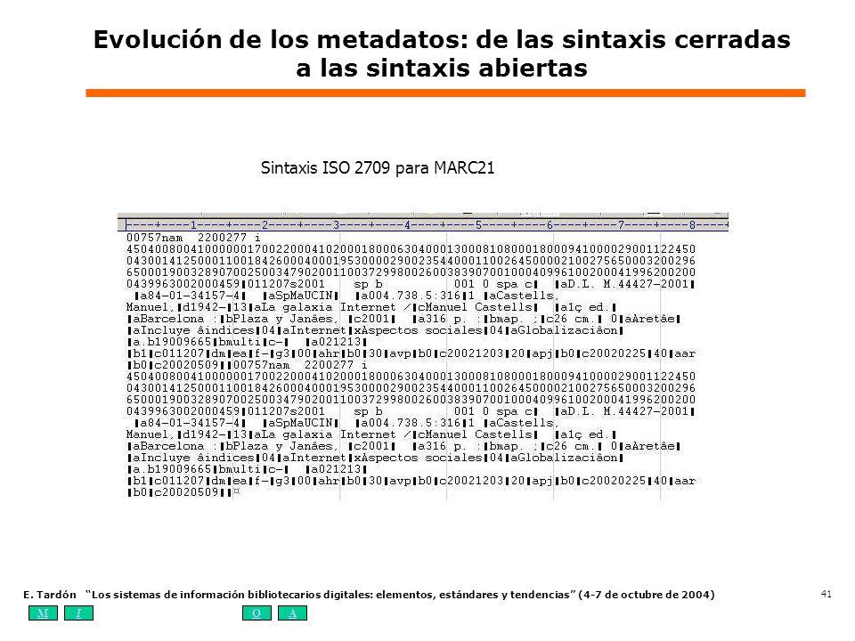 MIOA E. Tardón Los sistemas de información bibliotecarios digitales: elementos, estándares y tendencias (4-7 de octubre de 2004) 41 Evolución de los m