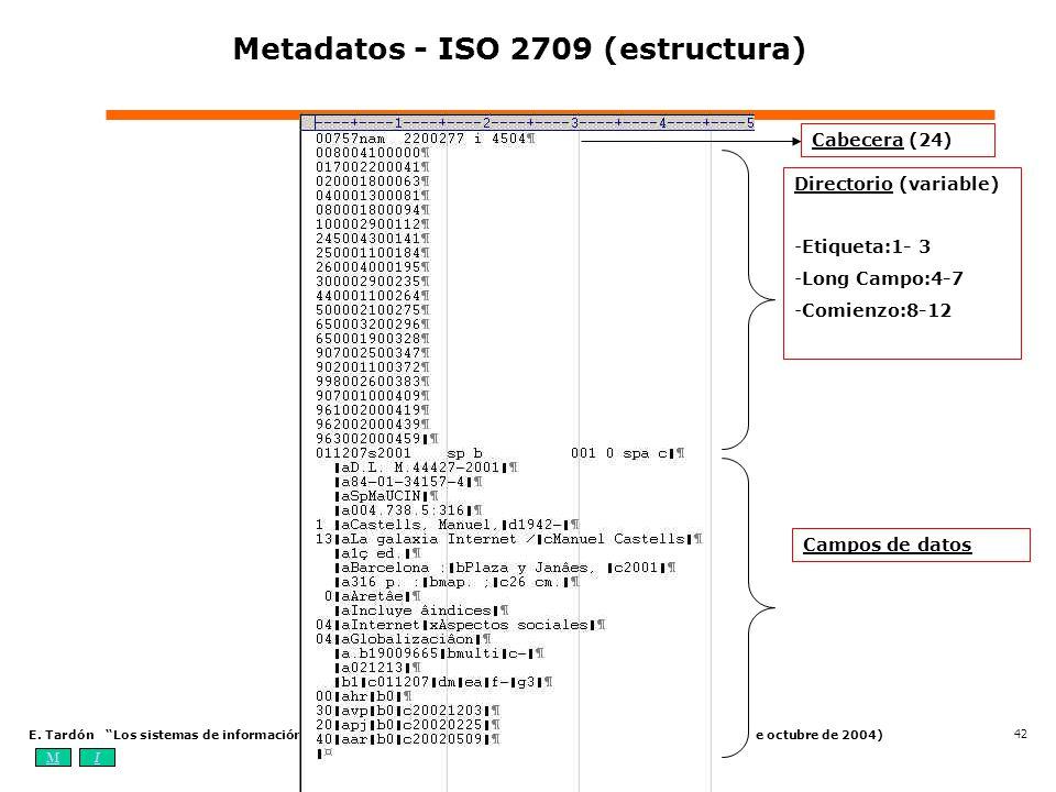 MIOA E. Tardón Los sistemas de información bibliotecarios digitales: elementos, estándares y tendencias (4-7 de octubre de 2004) 42 Metadatos - ISO 27