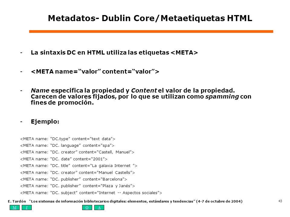 MIOA E. Tardón Los sistemas de información bibliotecarios digitales: elementos, estándares y tendencias (4-7 de octubre de 2004) 43 Metadatos- Dublin