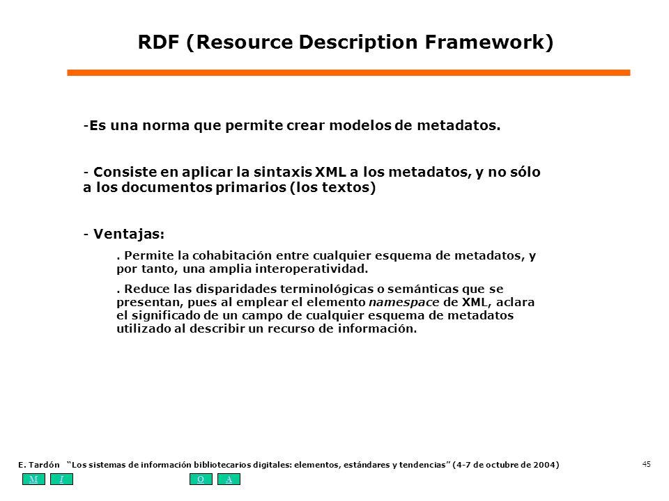 MIOA E. Tardón Los sistemas de información bibliotecarios digitales: elementos, estándares y tendencias (4-7 de octubre de 2004) 45 RDF (Resource Desc