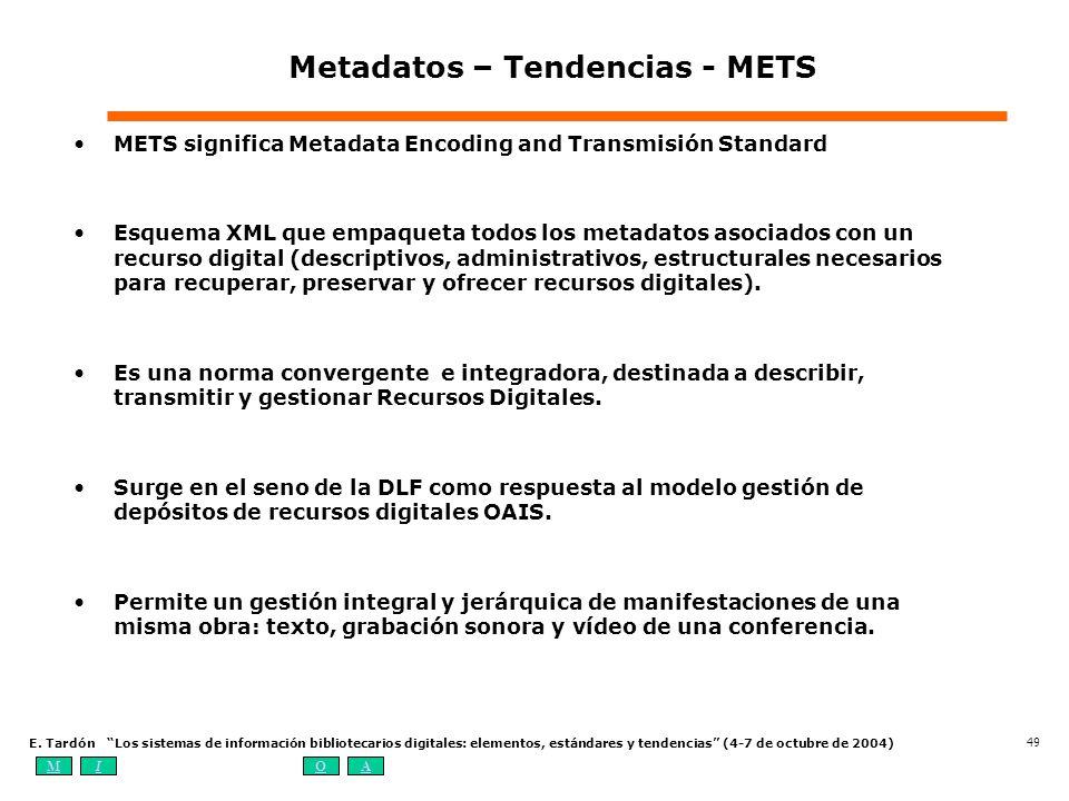 MIOA E. Tardón Los sistemas de información bibliotecarios digitales: elementos, estándares y tendencias (4-7 de octubre de 2004) 49 Metadatos – Tenden