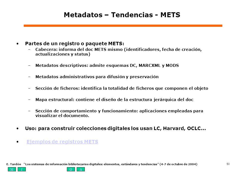 MIOA E. Tardón Los sistemas de información bibliotecarios digitales: elementos, estándares y tendencias (4-7 de octubre de 2004) 50 Metadatos – Tenden
