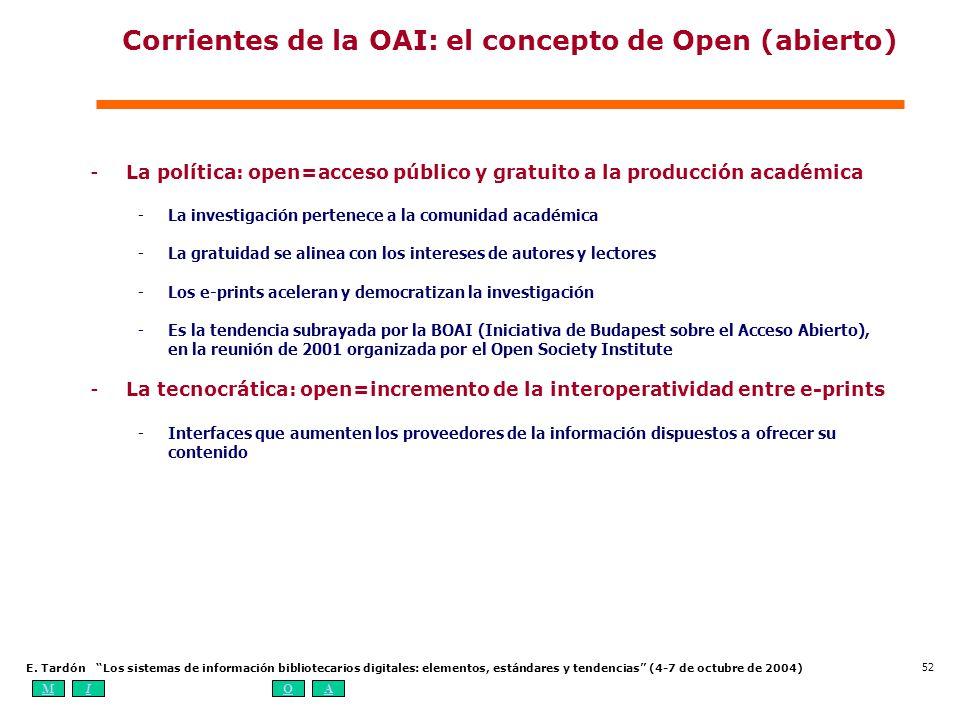 MIOA E. Tardón Los sistemas de información bibliotecarios digitales: elementos, estándares y tendencias (4-7 de octubre de 2004) 52 Corrientes de la O