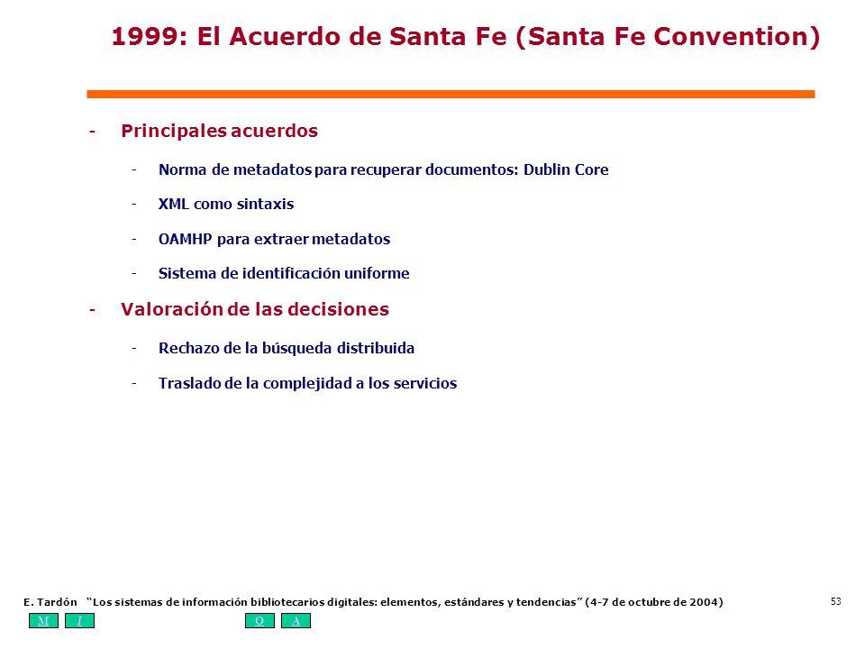 MIOA E. Tardón Los sistemas de información bibliotecarios digitales: elementos, estándares y tendencias (4-7 de octubre de 2004) 53 1999: El Acuerdo d