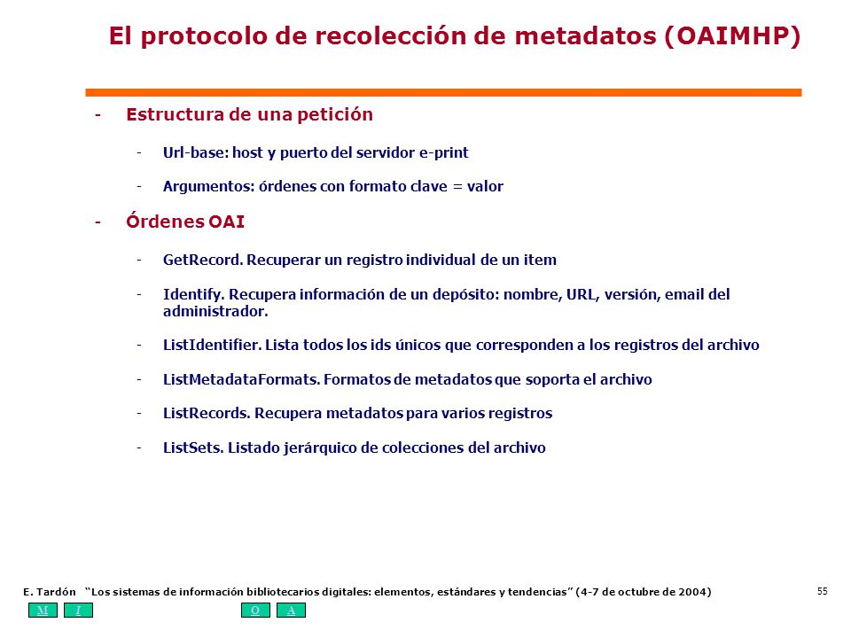 MIOA E. Tardón Los sistemas de información bibliotecarios digitales: elementos, estándares y tendencias (4-7 de octubre de 2004) 55 El protocolo de re