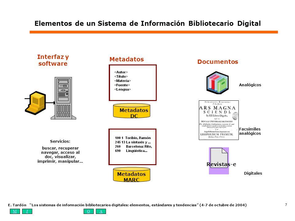 MIOA E. Tardón Los sistemas de información bibliotecarios digitales: elementos, estándares y tendencias (4-7 de octubre de 2004) 7 Analógicos Revistas