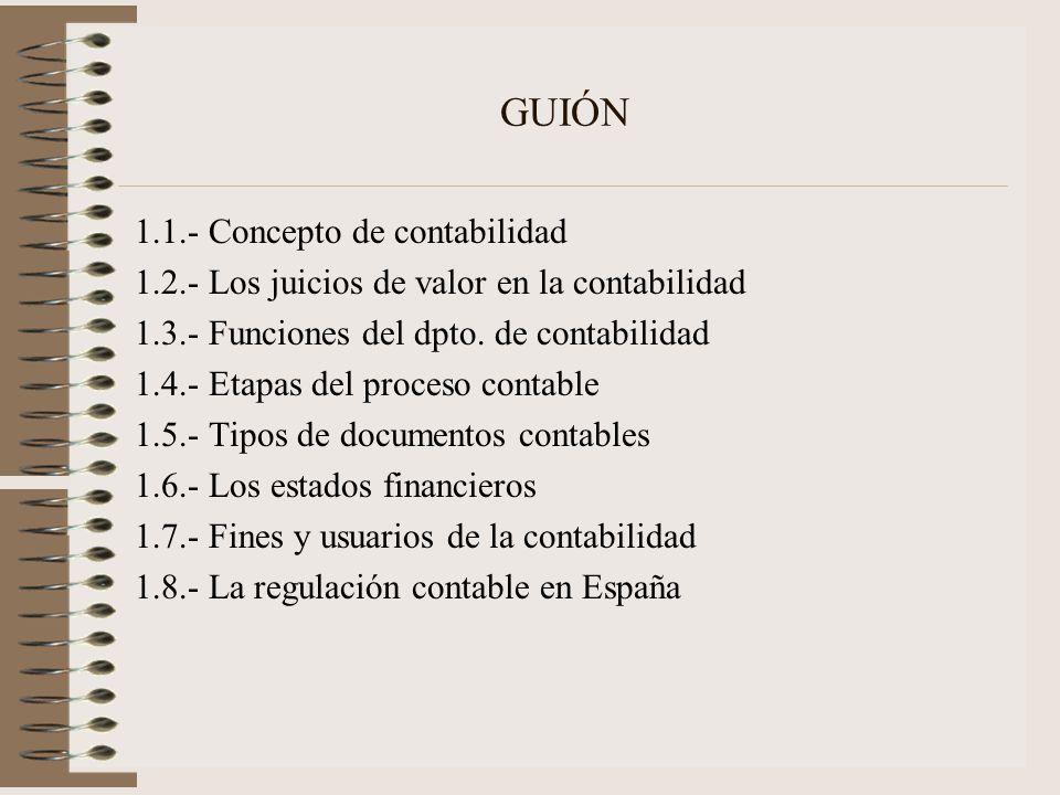 GUIÓN 1.1.- Concepto de contabilidad 1.2.- Los juicios de valor en la contabilidad 1.3.- Funciones del dpto. de contabilidad 1.4.- Etapas del proceso