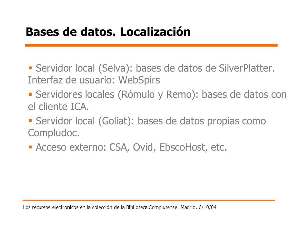 Los recursos electrónicos en la colección de la Biblioteca Complutense. Madrid, 6/10/04 Bases de datos. Localización Servidor local (Selva): bases de