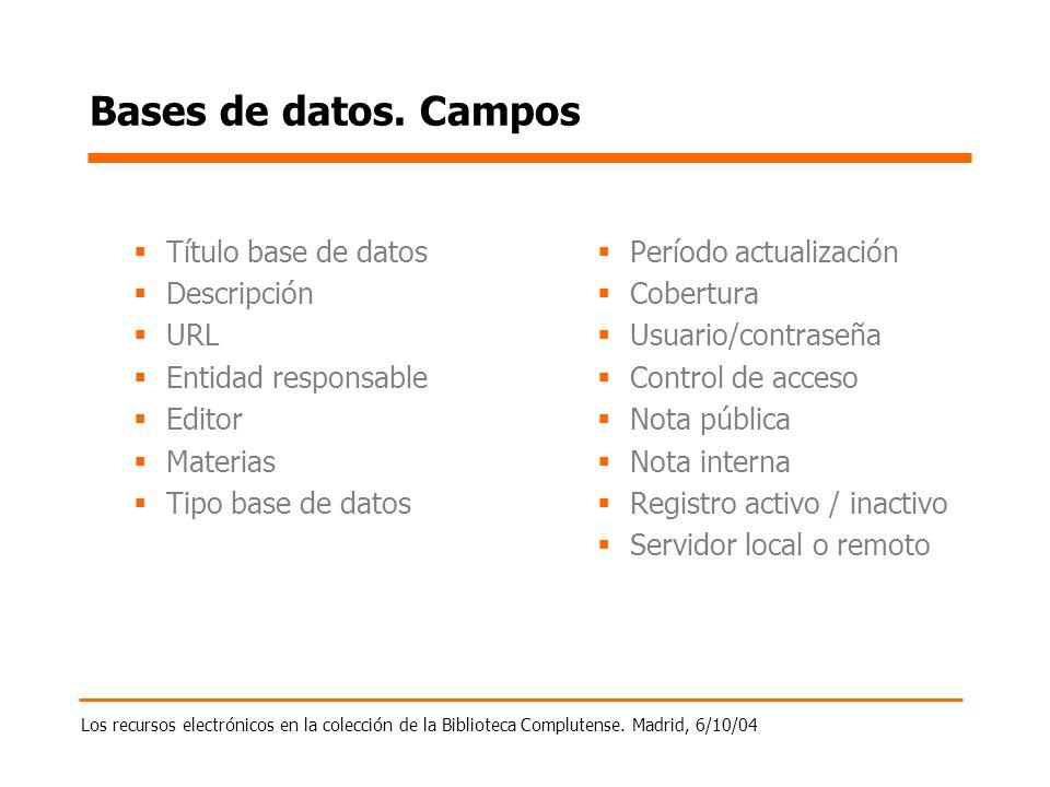 Los recursos electrónicos en la colección de la Biblioteca Complutense. Madrid, 6/10/04 Bases de datos. Campos Título base de datos Descripción URL En