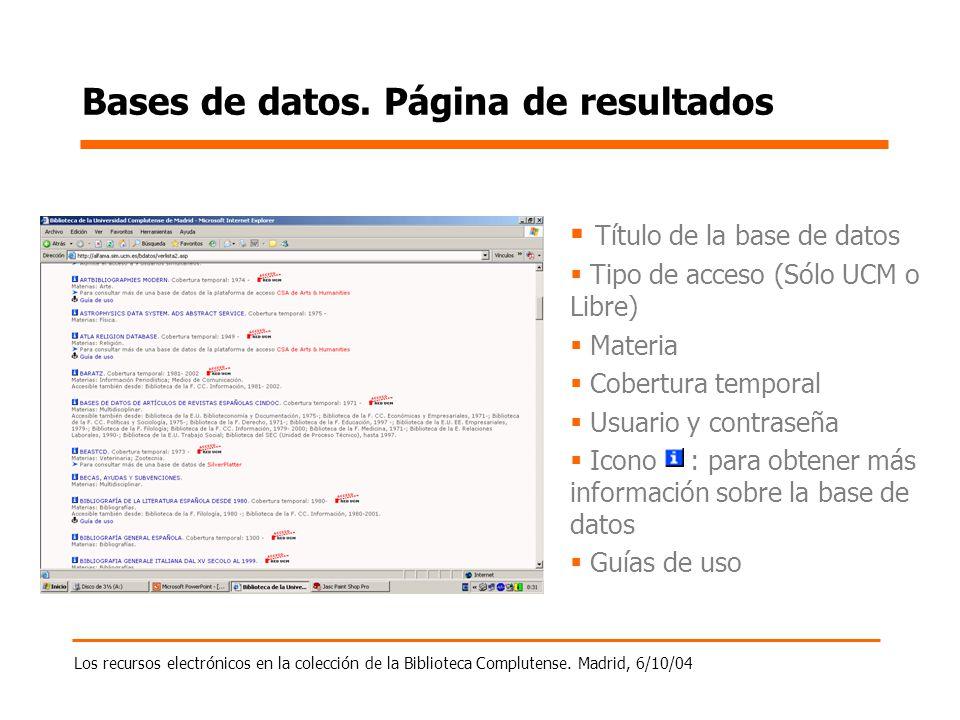 Los recursos electrónicos en la colección de la Biblioteca Complutense. Madrid, 6/10/04 Bases de datos. Página de resultados Título de la base de dato