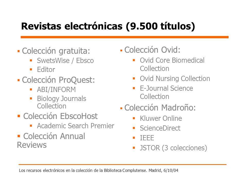 Los recursos electrónicos en la colección de la Biblioteca Complutense. Madrid, 6/10/04 Revistas electrónicas (9.500 títulos) Colección gratuita: Swet