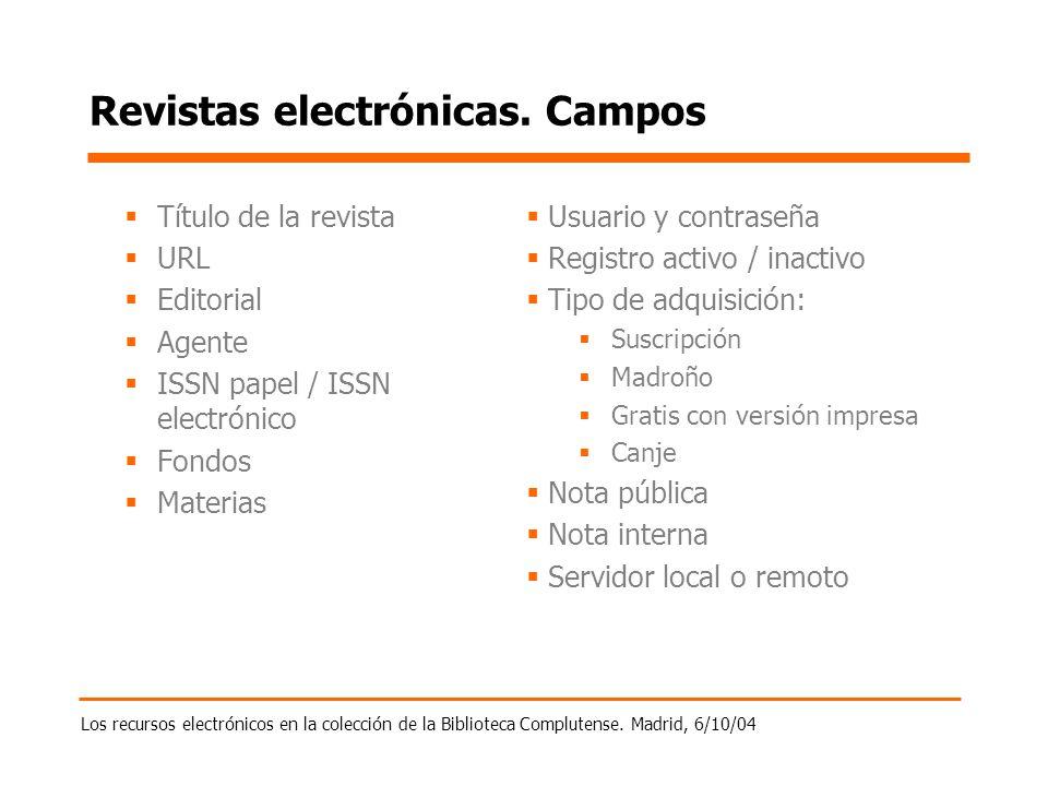 Los recursos electrónicos en la colección de la Biblioteca Complutense. Madrid, 6/10/04 Revistas electrónicas. Campos Título de la revista URL Editori