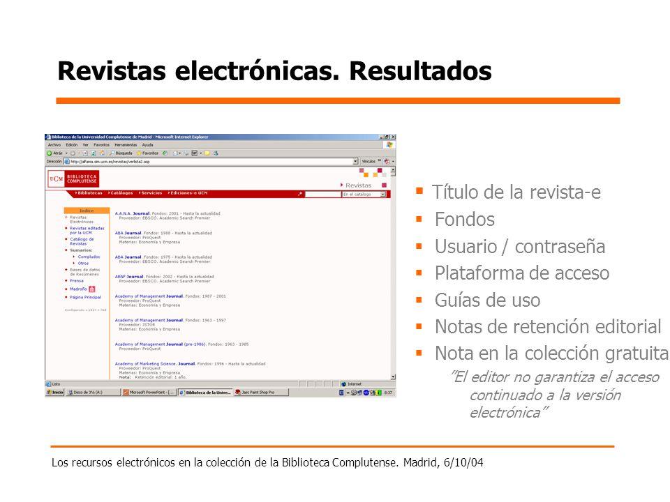Los recursos electrónicos en la colección de la Biblioteca Complutense. Madrid, 6/10/04 Revistas electrónicas. Resultados Título de la revista-e Fondo