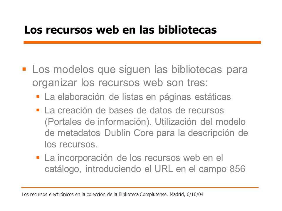 Los recursos electrónicos en la colección de la Biblioteca Complutense. Madrid, 6/10/04 Los recursos web en las bibliotecas Los modelos que siguen las