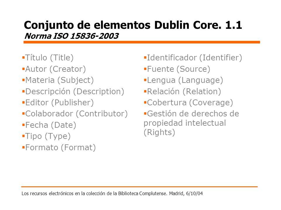 Los recursos electrónicos en la colección de la Biblioteca Complutense. Madrid, 6/10/04 Conjunto de elementos Dublin Core. 1.1 Norma ISO 15836-2003 Tí