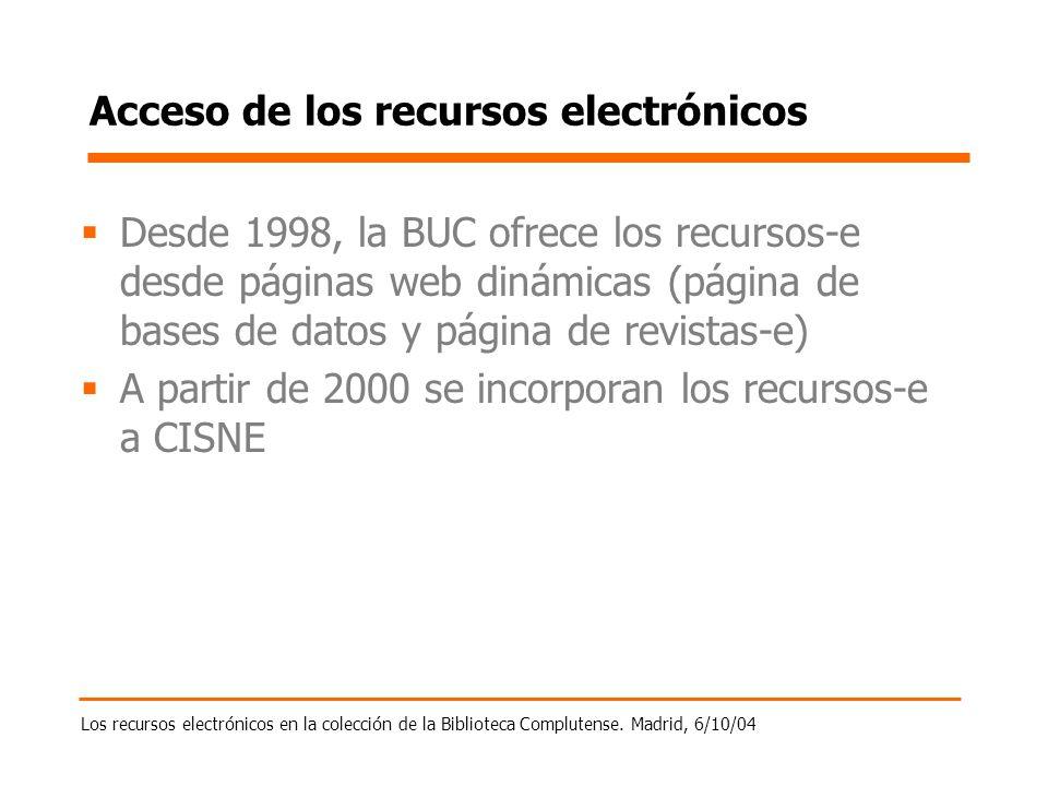 Los recursos electrónicos en la colección de la Biblioteca Complutense. Madrid, 6/10/04 Acceso de los recursos electrónicos Desde 1998, la BUC ofrece