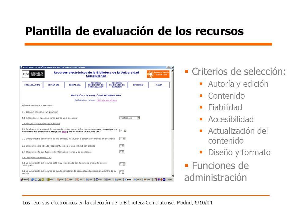 Los recursos electrónicos en la colección de la Biblioteca Complutense. Madrid, 6/10/04 Plantilla de evaluación de los recursos Criterios de selección