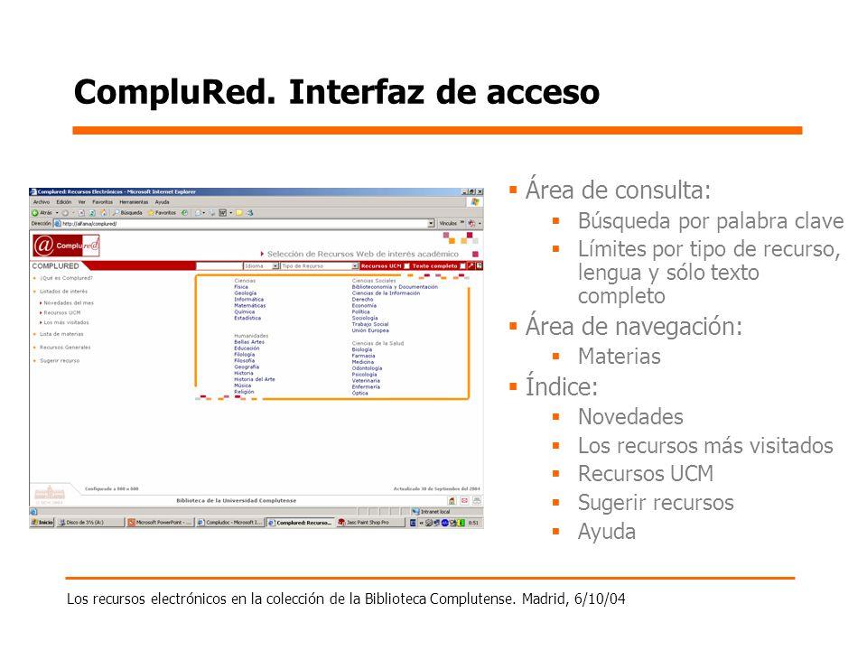 Los recursos electrónicos en la colección de la Biblioteca Complutense. Madrid, 6/10/04 CompluRed. Interfaz de acceso Área de consulta: Búsqueda por p