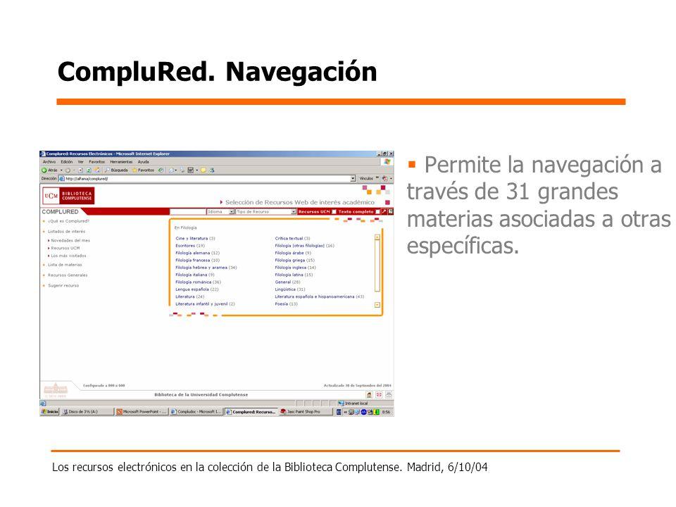 Los recursos electrónicos en la colección de la Biblioteca Complutense. Madrid, 6/10/04 CompluRed. Navegación Permite la navegación a través de 31 gra
