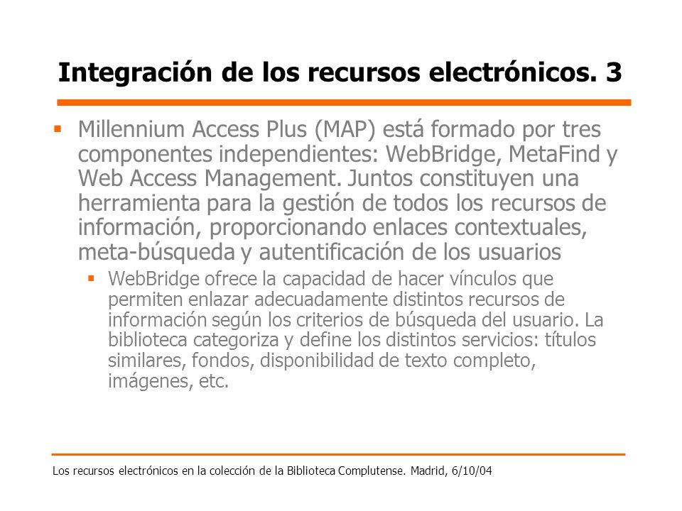 Los recursos electrónicos en la colección de la Biblioteca Complutense. Madrid, 6/10/04 Integración de los recursos electrónicos. 3 Millennium Access