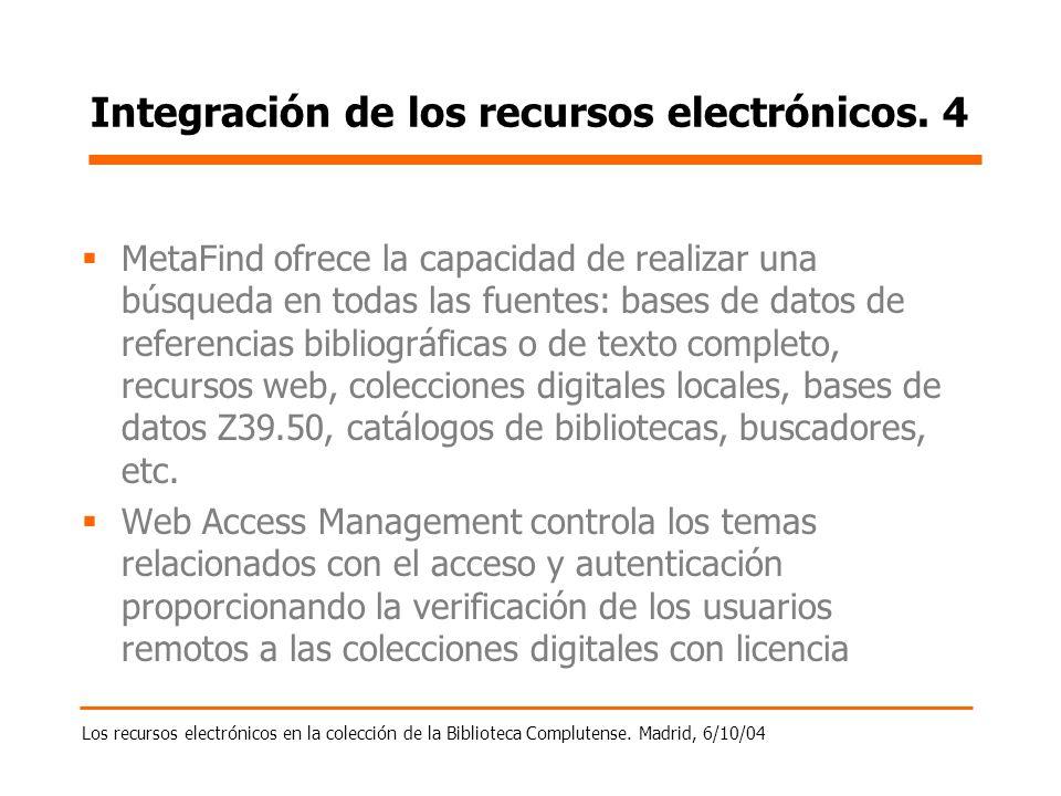 Los recursos electrónicos en la colección de la Biblioteca Complutense. Madrid, 6/10/04 Integración de los recursos electrónicos. 4 MetaFind ofrece la