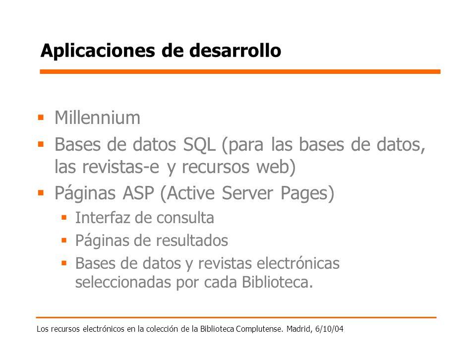 Los recursos electrónicos en la colección de la Biblioteca Complutense. Madrid, 6/10/04 Aplicaciones de desarrollo Millennium Bases de datos SQL (para