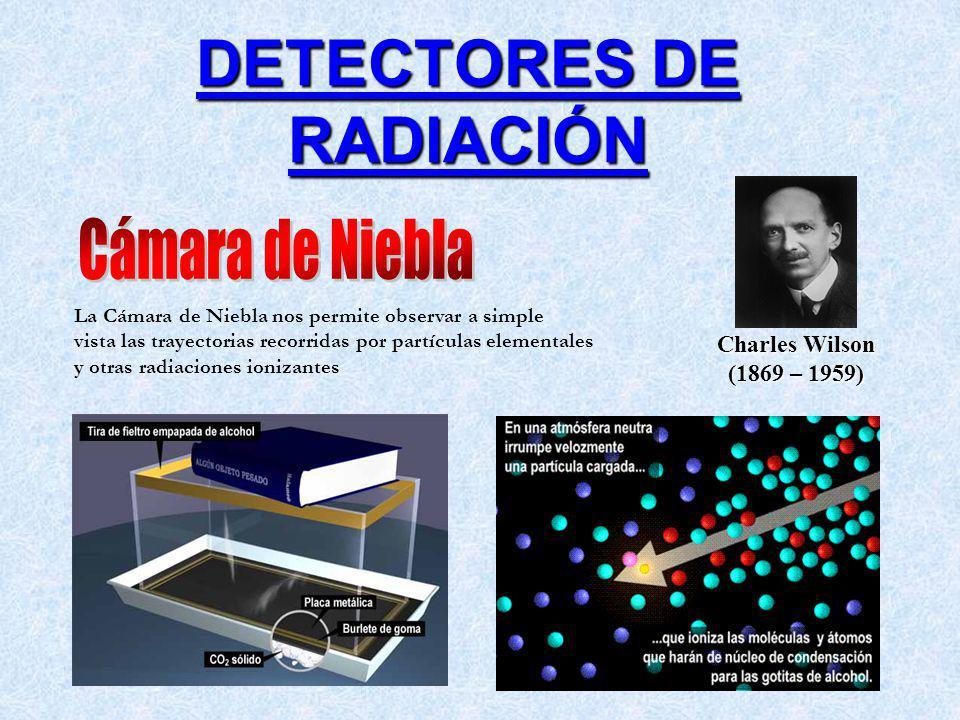DETECTORES DE RADIACIÓN Charles Wilson (1869 – 1959) La Cámara de Niebla nos permite observar a simple vista las trayectorias recorridas por partículas elementales y otras radiaciones ionizantes
