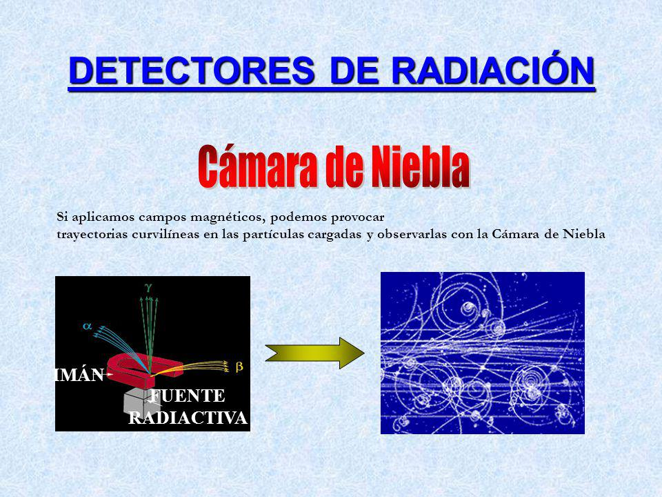 IMÁN FUENTE RADIACTIVA Si aplicamos campos magnéticos, podemos provocar trayectorias curvilíneas en las partículas cargadas y observarlas con la Cámar