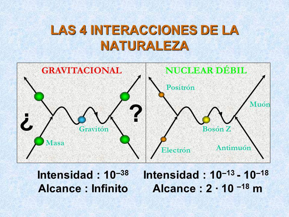 LAS 4 INTERACCIONES DE LA NATURALEZA Electrón ELECTROMAGNÉTICA Fotón Electrón Quark NUCLEAR FUERTE Gluón Quark Intensidad : 1 Alcance : 1.5 · 10 –15 m Intensidad : 10 –2 Alcance : Infinito