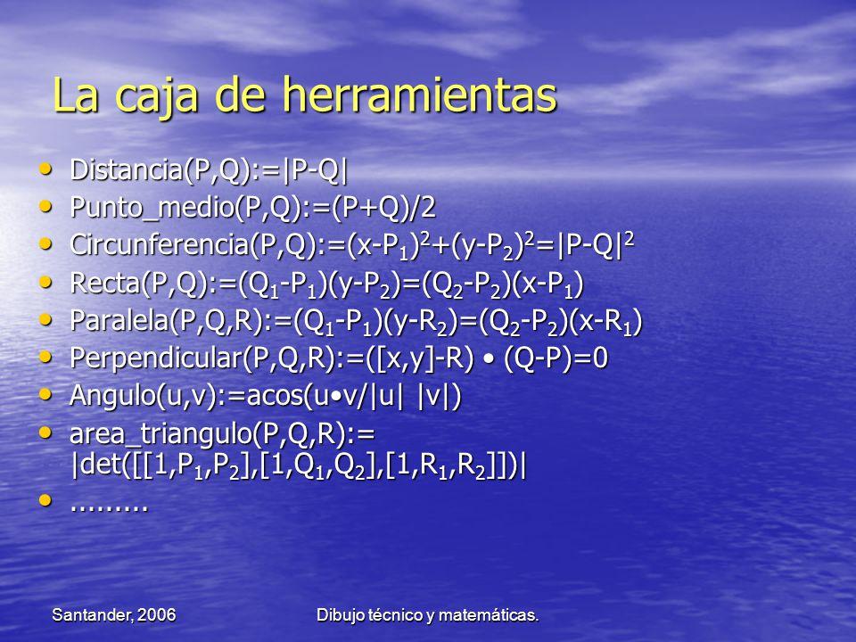 Santander, 2006Dibujo técnico y matemáticas. La caja de herramientas Distancia(P,Q):=|P-Q| Distancia(P,Q):=|P-Q| Punto_medio(P,Q):=(P+Q)/2 Punto_medio