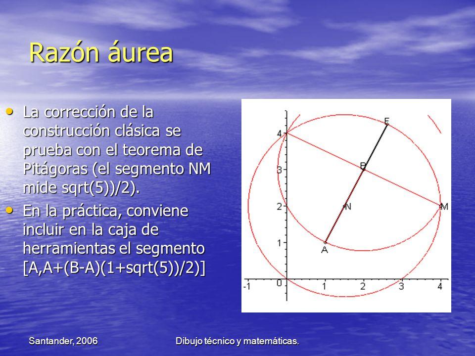 Santander, 2006Dibujo técnico y matemáticas. Razón áurea La corrección de la construcción clásica se prueba con el teorema de Pitágoras (el segmento N