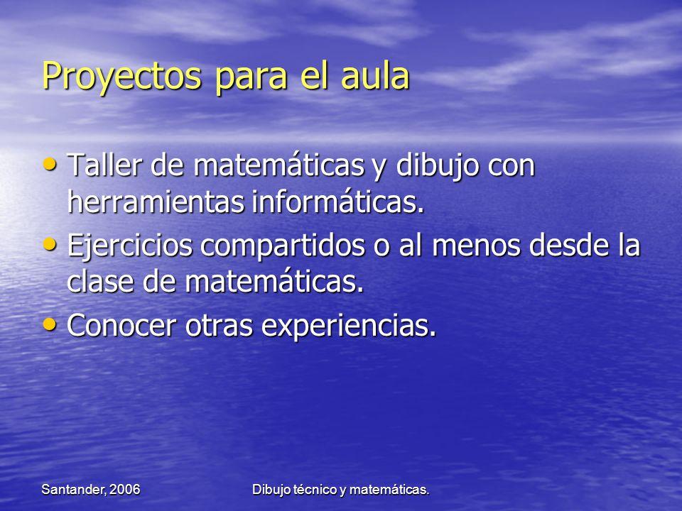 Santander, 2006Dibujo técnico y matemáticas. Proyectos para el aula Taller de matemáticas y dibujo con herramientas informáticas. Taller de matemática