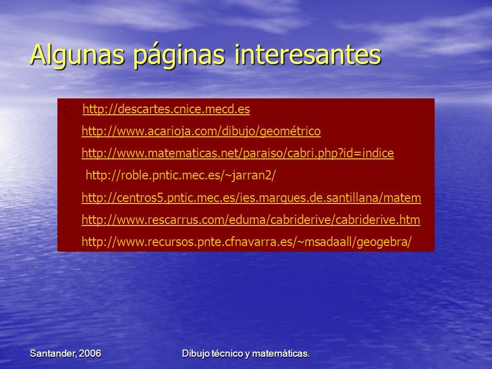 Santander, 2006Dibujo técnico y matemáticas. Algunas páginas interesantes : http://descartes.cnice.mecd.eshttp://descartes.cnice.mecd.es http://www.ac