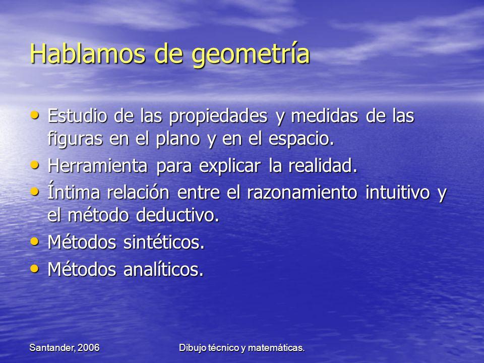 Santander, 2006Dibujo técnico y matemáticas. Hablamos de geometría Estudio de las propiedades y medidas de las figuras en el plano y en el espacio. Es