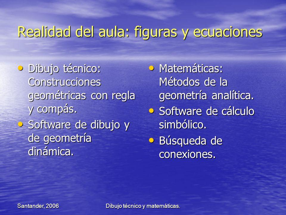 Santander, 2006Dibujo técnico y matemáticas. Realidad del aula: figuras y ecuaciones Dibujo técnico: Construcciones geométricas con regla y compás. Di