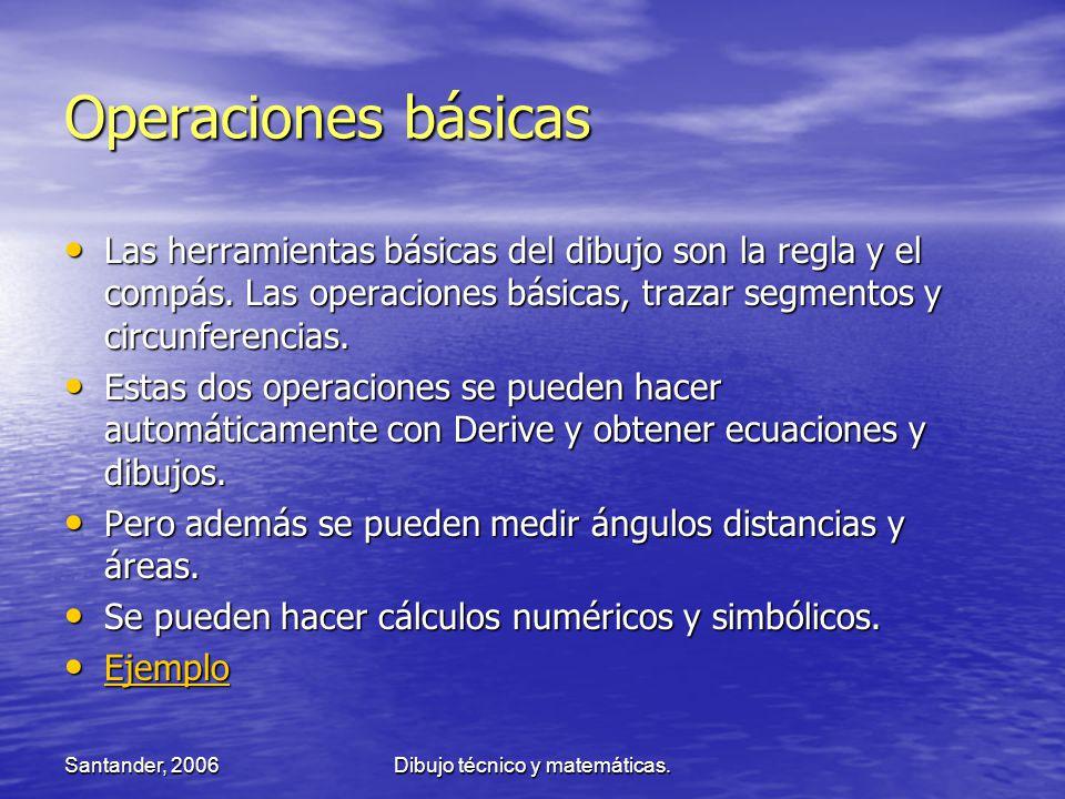 Santander, 2006Dibujo técnico y matemáticas. Operaciones básicas Las herramientas básicas del dibujo son la regla y el compás. Las operaciones básicas