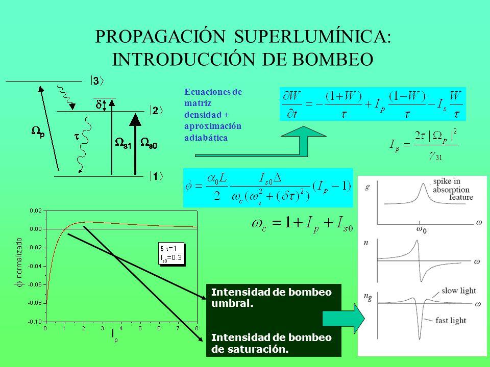 Intensidad de bombeo umbral. Intensidad de bombeo de saturación. PROPAGACIÓN SUPERLUMÍNICA: INTRODUCCIÓN DE BOMBEO Ecuaciones de matriz densidad + apr