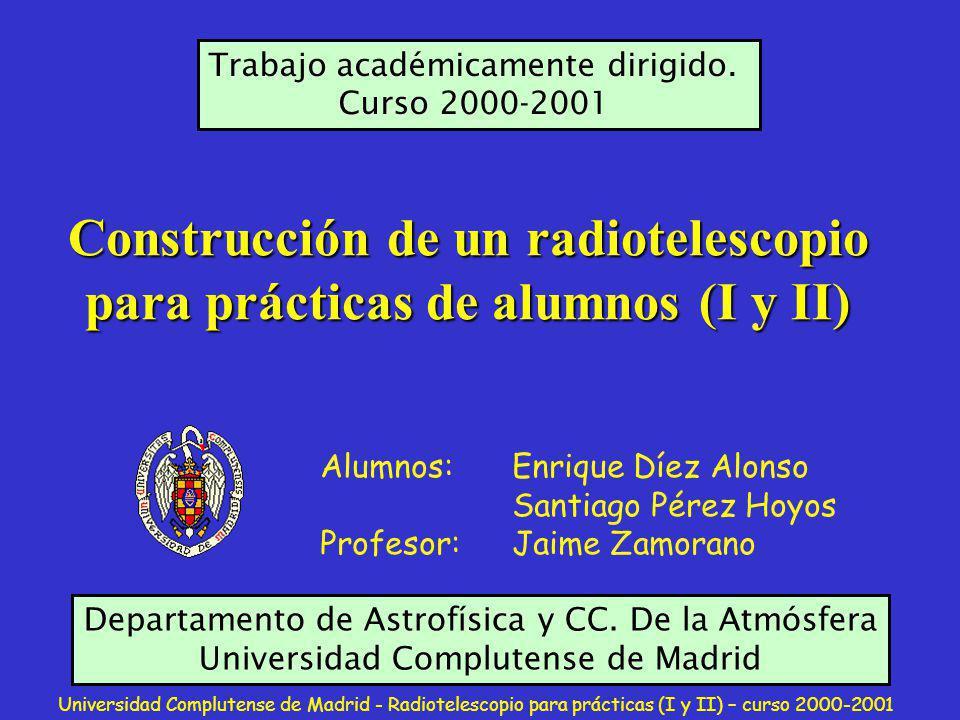 Universidad Complutense de Madrid - Radiotelescopio para prácticas (I y II) – curso 2000-2001 Usamos mástiles de PVC para levantar los dipolos.