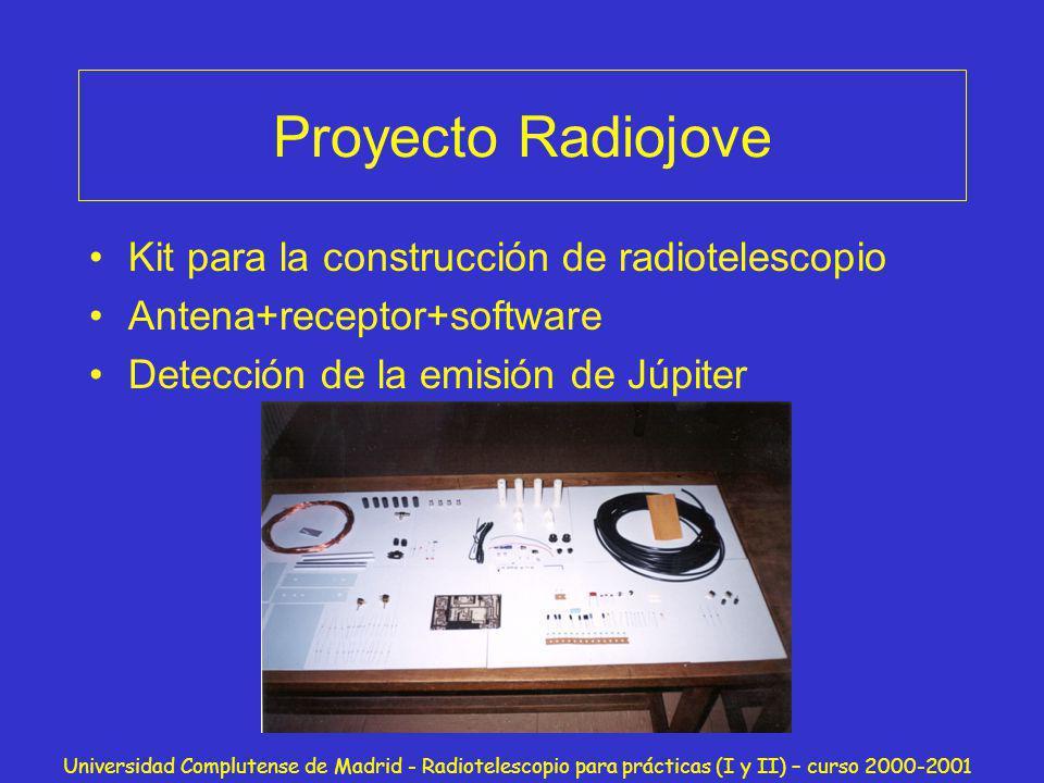 Universidad Complutense de Madrid - Radiotelescopio para prácticas (I y II) – curso 2000-2001 Proyecto Radiojove Kit para la construcción de radiotele
