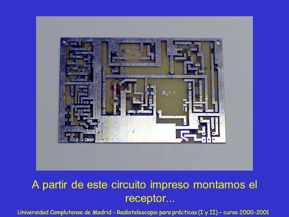 Universidad Complutense de Madrid - Radiotelescopio para prácticas (I y II) – curso 2000-2001 A partir de este circuito impreso montamos el receptor..