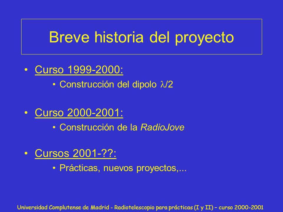 Universidad Complutense de Madrid - Radiotelescopio para prácticas (I y II) – curso 2000-2001 El Dipolo 2000 Antena: dipolo /2 Receptor: circuito RLC Análisis osciloscopio Objetivo: El Centro Galáctico
