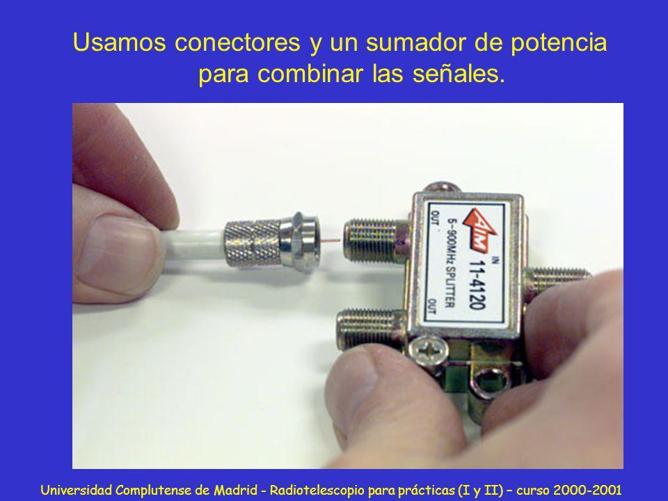 Universidad Complutense de Madrid - Radiotelescopio para prácticas (I y II) – curso 2000-2001 Usamos conectores y un sumador de potencia para combinar