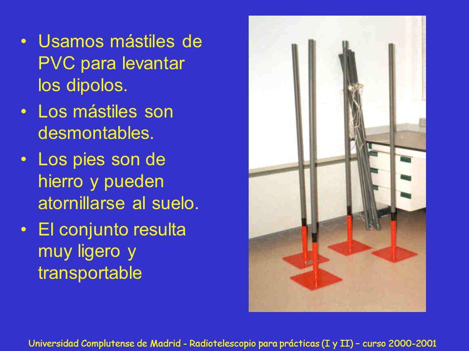Universidad Complutense de Madrid - Radiotelescopio para prácticas (I y II) – curso 2000-2001 Usamos mástiles de PVC para levantar los dipolos. Los má