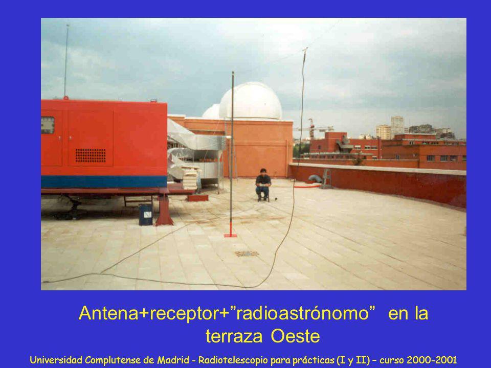 Universidad Complutense de Madrid - Radiotelescopio para prácticas (I y II) – curso 2000-2001 Antena+receptor+radioastrónomo en la terraza Oeste