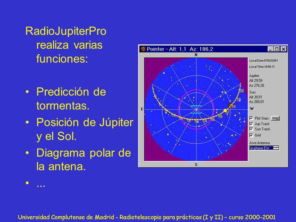 Universidad Complutense de Madrid - Radiotelescopio para prácticas (I y II) – curso 2000-2001 RadioJupiterPro realiza varias funciones: Predicción de